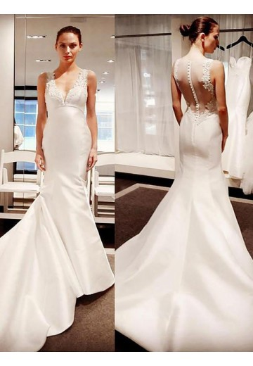 Mermaid V-neck Satin Court Train Wedding Dress