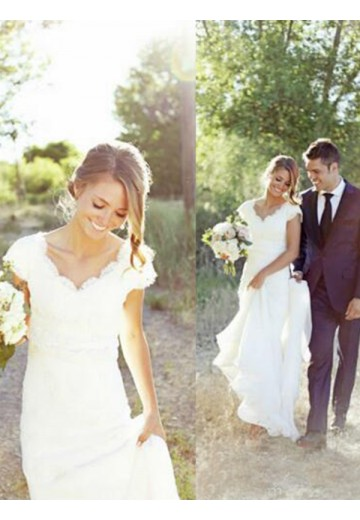 A-Line Tulle Lace V-neck Sweep/Brush Train Wedding Dress