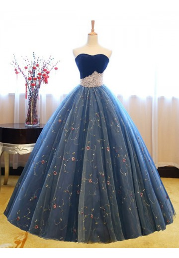Ball Gown Sweetheart Floor-Length Net Dress