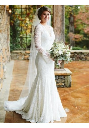 Mermaid V-neck Long Sleeves Sweep/Brush Train Lace Wedding Dress