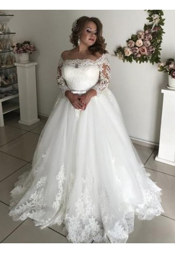 A-Line Off-the-Shoulder Long Sleeves Sweep/Brush Train Lace Tulle Wedding Dress