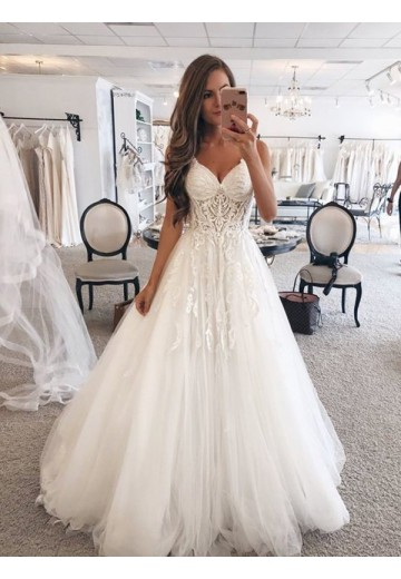 A-Line Sweetheart Floor-Length Lace Tulle Wedding Dress