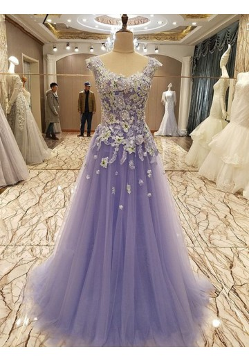 A-Line Scoop Long Tulle Dress