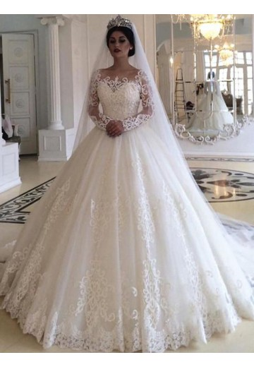 Ball Gown Tulle Off-the-Shoulder Long Sleeves Long Wedding Dress
