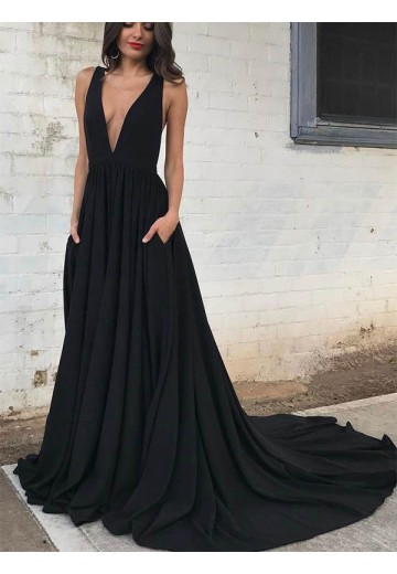 A-Line V-neck Jersey Court Train Dress
