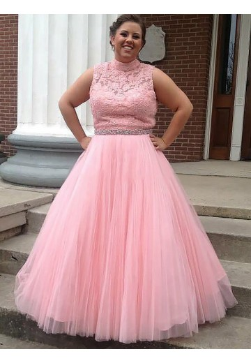 Ball Gown High Neck Tulle Applique Long Plus Size Dress