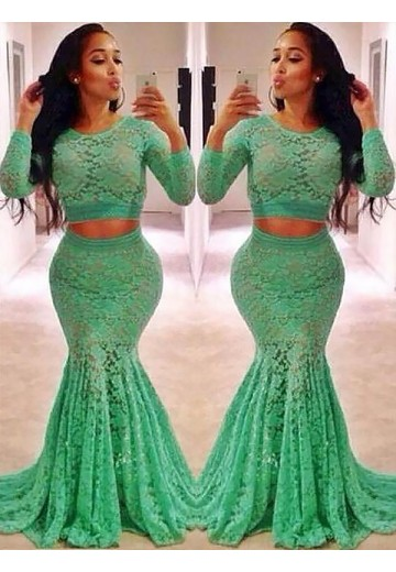Trumpet/Mermaid Scoop Lace Sweep/Brush Train Two Piece Dress