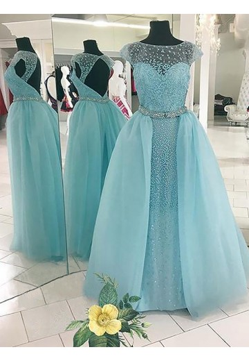 Ball Gown Bateau Floor-Length Tulle Dress