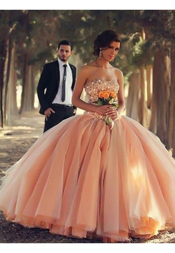 Ball Gown Strapless Floor-Length Tulle Dress