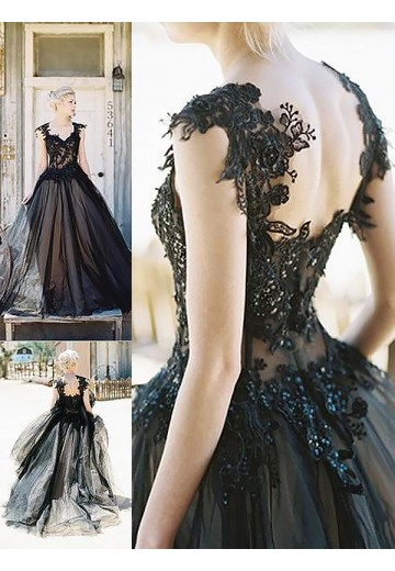 Ball Gown Sweetheart Lace Sweep/Brush Train Tulle Dress