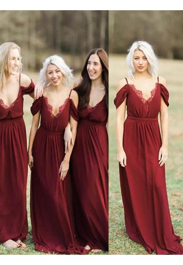 A-Line Spaghetti Straps Floor-Length Lace Chiffon Bridesmaid Dress