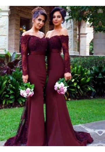 Mermaid Off-the-Shoulder Satin Long Bridesmaid Dress