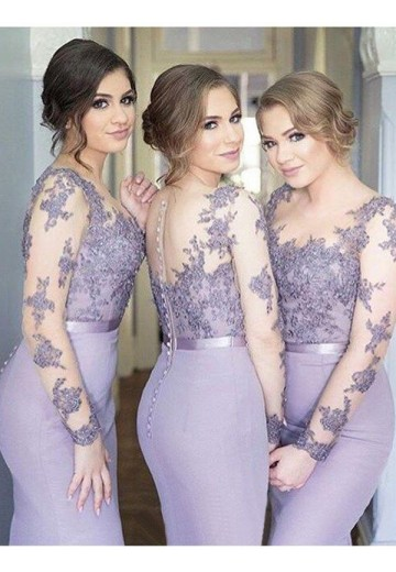 Mermaid Scoop Jersey Long Bridesmaid Dress