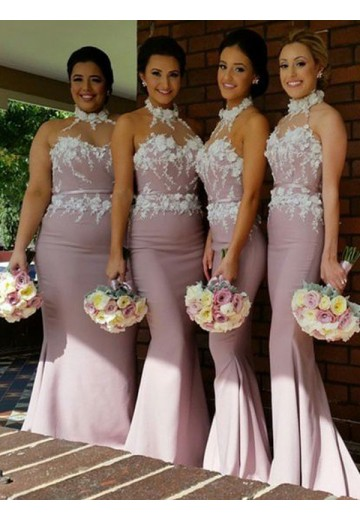 Mermaid Halter Satin Long Bridesmaid Dress