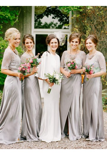A-Line Scoop Long Satin Bridesmaid Dress
