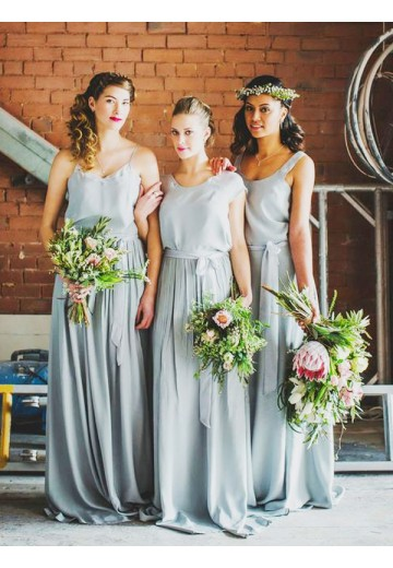 A-Line Long Chiffon Bridesmaid Dress