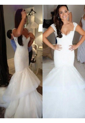 Trumpet/Mermaid Organza Straps Chapel Train Wedding Dress