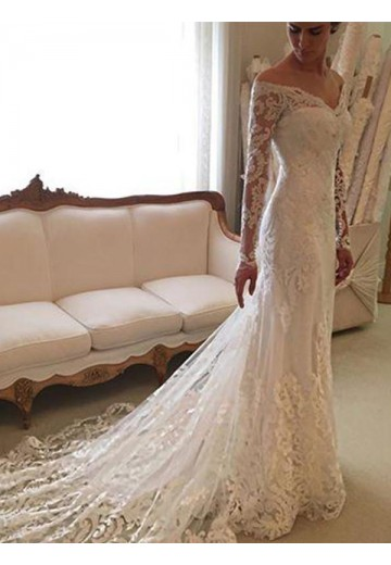 Sheath/Column Lace Off-the-Shoulder Court Train Wedding Dress