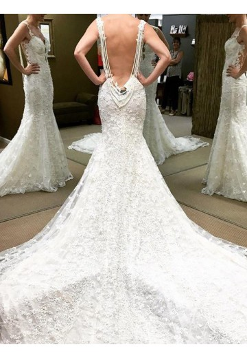Ball Gown Cathedral Train Off-the-Shoulder Lace Wedding Dress
