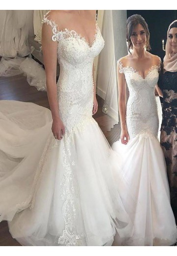 Trumpet/Mermaid Off-the-Shoulder Chapel Train Lace Tulle Wedding Dress