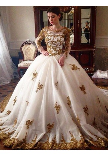 Ball Gown Court Train Scoop Tulle Wedding Dress
