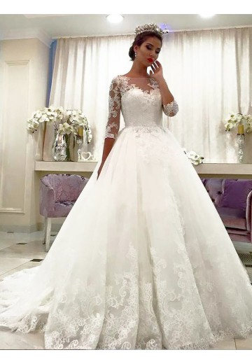 Ball Gown Tulle Bateau Lace Court Train Wedding Dress