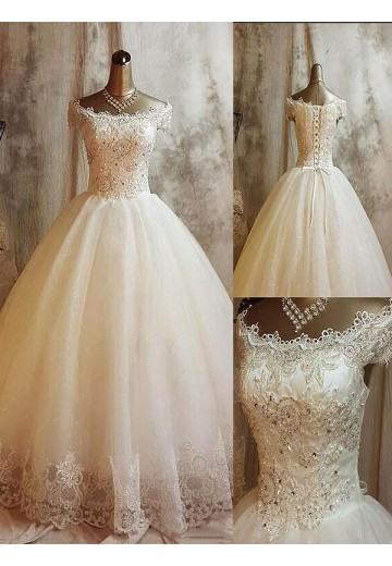 Ball Gown Off-the-Shoulder Sweep/Brush Train Tulle Wedding Dress