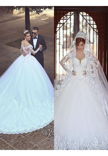 Ball Gown Tulle Off-the-Shoulder Court Train Wedding Dress