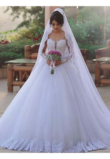 Ball Gown Sweetheart Long Sleeves Sweep/Brush Train Lace Tulle Wedding Dress