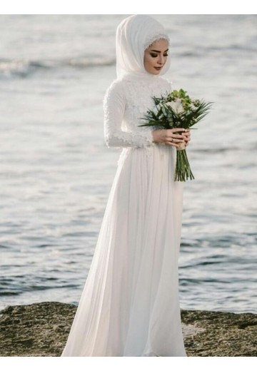 A-Line Jewel Long Sleeves Floor-Length Chiffon Wedding Dress