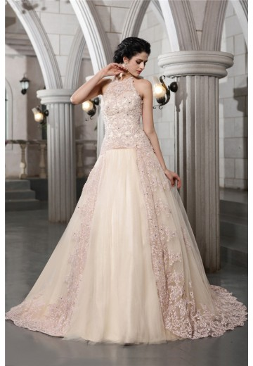 A-Line/Princess High Neck Chapel Train Net Wedding Dress