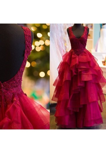 Ball Gown Sleeveless V-Neck Floor-Length Tulle Dresses
