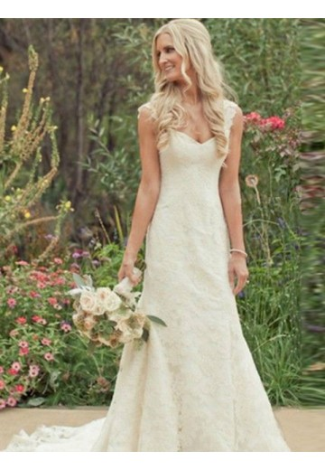 Trumpet/Mermaid Sleeveless Sweep/Brush Train V-neck Lace Wedding Dress
