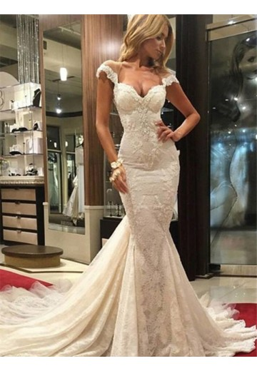Trumpet/Mermaid Sleeveless Chapel Train V-neck Lace Wedding Dress