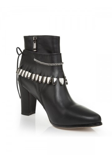 Women's Cattlehide Leather Chunky Heel Closed Toe With Chain Booties/Ankle Boots