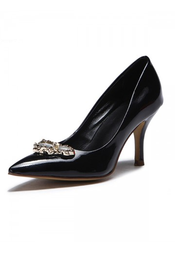 Women's Patent Leather Pointed Toe with Buckle Stiletto Heel Shoes