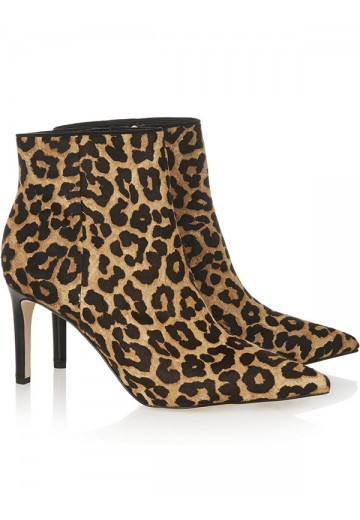 Women's Flock Pointed Toe with Leopard Print Ankle Boots