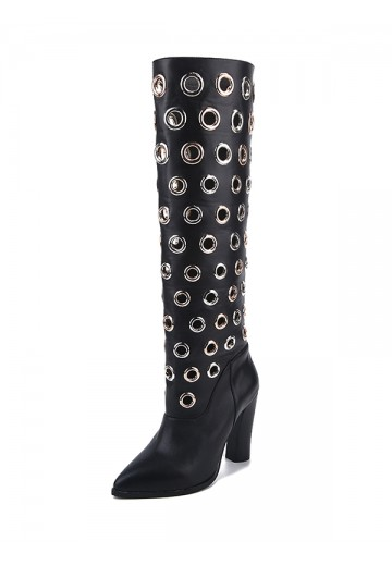 Women's Cattlehide Leather Closed Toe Chunky Heel Over The Knee Boots