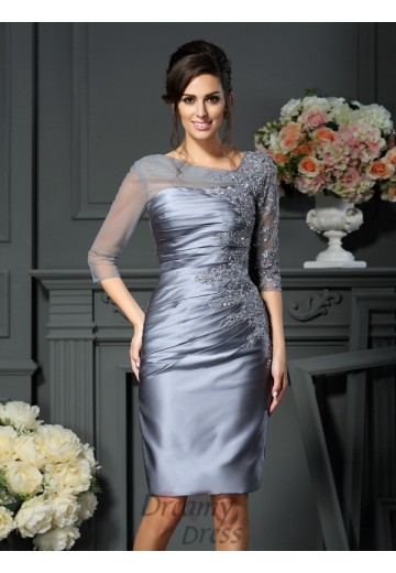 Scoop 1/2 Sleeves Knee-Length Satin Mother of the Bride Dress