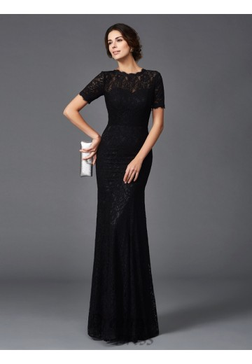Sheath/Column Lace Jewel Long Elastic Woven Satin Mother of the Bride Dress