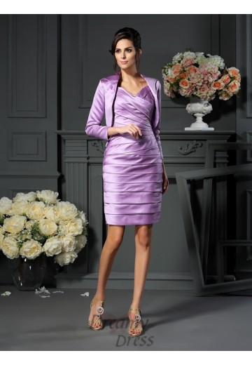 Sheath/Column Straps Satin Knee-length Mother of the Bride Dress