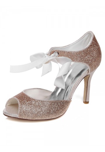 Women's Spool Heel Peep Toe With Bowknot Wedding Shoes