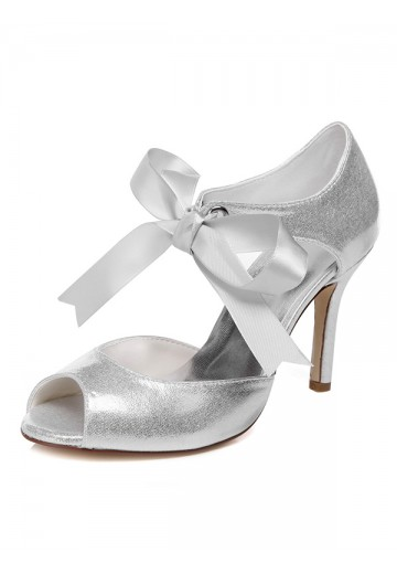 Women's Peep Toe Spool Heel With Bowknot Wedding Shoes