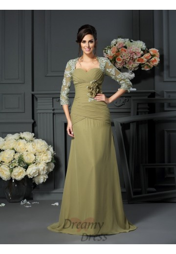 Sweetheart 1/2 Sleeves Floor-Length Chiffon Mother of the Bride Dress