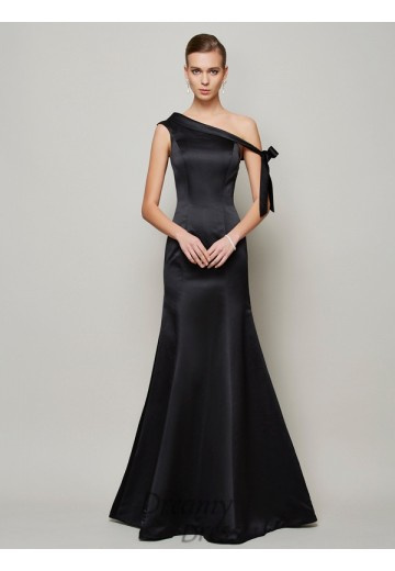 Trumpet/Mermaid One-Shoulder Bowknot Floor-Length Satin Dress