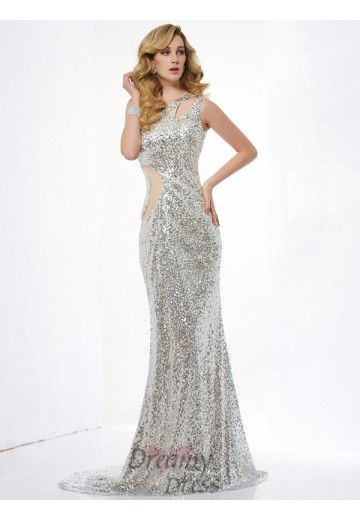 Trumpet/Mermaid One-Shoulder Sequins Lace Sweep/Brush Train Dress