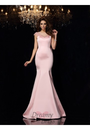 Trumpet/Mermaid Scoop Satin Court Train Dress