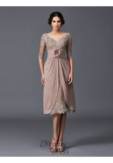 V-neck 1/2 SleevesTea-Length Lace Mother of the Bride Dress