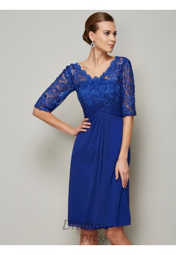V-neck Lace Chiffon 1/2 Sleeves Knee-Length Mother of the Bride Dress