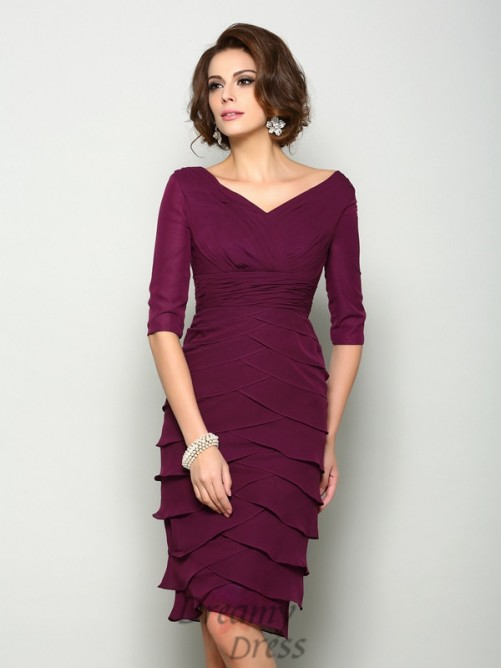 1/2 Sleeves V-neck Knee-Length Chiffon Mother of the Bride Dress
